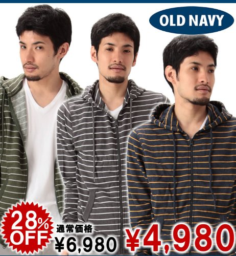 Men's Thin-Stripe Zip Hoodies (3色) (117962052) (S,M,L,XL) オールドネイビー