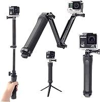 【DECADE】GoPro用 3-Way 自拍杆 、SJCAM/XIAOMI/XIAOYI/MIJIA可用于穿戴相机的装饰、橡胶把手 可调整角度的迷你三脚架 防水设计