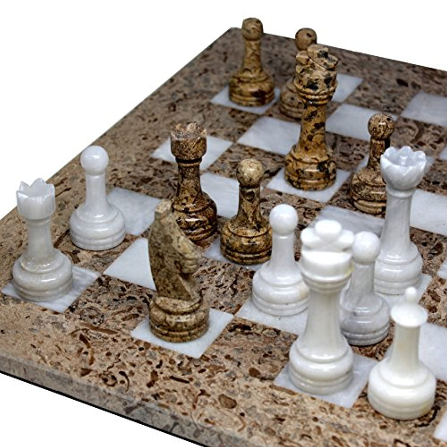 16 x 16 inch Unique Hand Carved Fossil Coral Stone & White Onyx Marble Chess Set - Including Complementary Velvet Case!