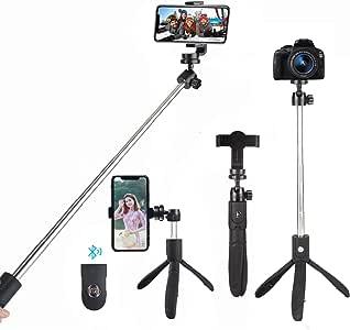 自撮り棒 Apsung ミニ三脚 セルカ棒 Bluetooth 360°回転 小型 三脚/一脚兼用 iPhone 11/11 Pro/11 Pro Max iPhoneX/8/7 iPhone/Android スマホ等対応