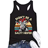 Don't Be A Salty Heifer Tank Tops Women's Cows Printed Vintage Sleeveless Shrits