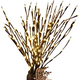 3 Pcs Warm White 20 LED Lighted Twig Branches Battery Operated Artificial Tree Lights Willow Branch Lamp for Home Decor Holid