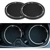 Ausget Universal Vehicle Bling Travel Auto Cup Holder Insert Coasters,2.75 Inch Crystal Rhinestone Car Interior Accessories D