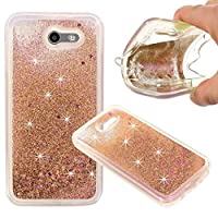 Galaxy J3 Emerge CaseGalaxy J3 Eclipse CaseJ3 Mission CaseJ3 Prime CaseGalaxy Express/Amp Prime 2 Case KinPond Girls Glitter Gold Liquid Clear TPU Case for Samsung J3 2017 [並行輸入品]