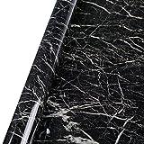 ANGLET 大理石柄 リフォームシール 鏡面仕上げ 防水 壁紙 カッティングシート (ブラック3m)