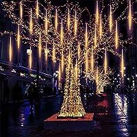 Ourine 流星雨ライト フォールライト 屋外 防水仕様 LED流星雨の中空30CM 装飾品 クリスマス フェスティバル ロマンチックの雰 囲気を作ります 省エネルギー クリスマスライト光が流れる LEDガーデンライト イルミネーション つらら 祝日 綺麗 ツリーストリングライト 流星シャワーライト 落ちる星/雨滴/氷雪 LED蛍光灯 クリスマスツリー装飾用LEDライト 8本セット (暖)