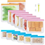 14 Pack Reusable Food Storage Bags, 2 Freezer Safe Reusable Gallon Bags, 6 Upgraded Large Sandwich Lunch Bags, 6 Food Grade K