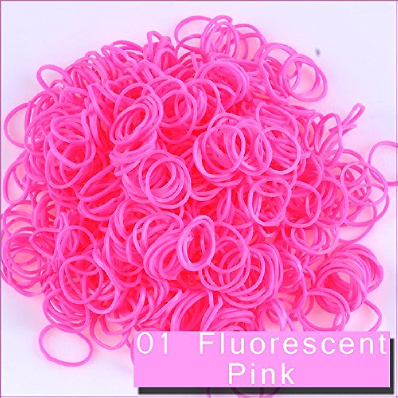 Kirinstores (キリンストア) (TM) 6000 本 クリップ 240 個 ゴムバンド リフィル Loom Rainbow Refill Bands Bracelets Dress Making (ルーム レインボー ブレスレット ドレス メーキング)蛍光ピンク ( Fluorescent Pink )