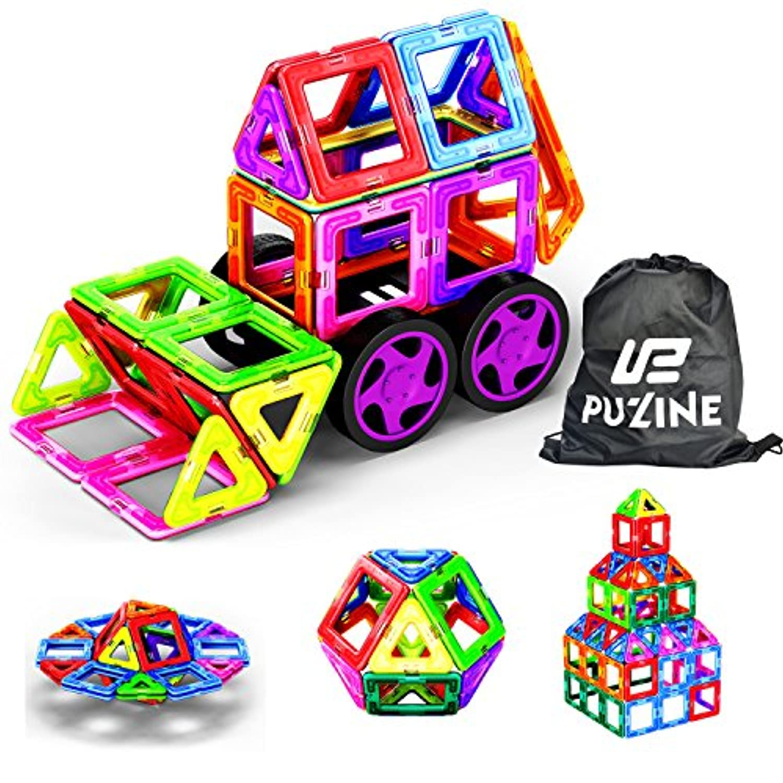 マグネットおもちゃ 磁気ブロック 磁石付き積み木 3d立体パズル DIY男の子 女の子 ゲーム(68個 自動車)