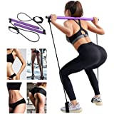 YCKJDM Portable Pilates Bar Kit with Resistance Band, Home Yoga Exercise Pilates Bar with Foot Loop Yoga Pilates Stick Total