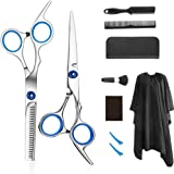 Professional barber set hair cutting scissors set 9 PCS hairdressing scissors kit, salon home shear kit for men women and chi