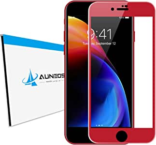『4D全面』AUNEOS iPhone 8 Plus フィルム iPhone8 Plus ガラスフィルム 日本製旭硝子材 炭素繊維 0.2mm 超薄型 指紋認証可能 3D Touch対応 端欠け防止 硬度9H iPhone8 Plus (PRODUCT) RED Special Edition アイフォン 8 プラス 強化ガラス (iPhone 8 Plus, 赤)