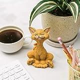 JFSM INC. Halloween Decoration Orange Cat Smiling Figurine - Whimsical Smiling Cat Statue - Happy Cat Collection