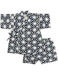 Munya Munya(ムニャムニャ) 日本製 甚平 子供 男児 麻柄 じんべい 綿100% ウエストゴム 上下セット