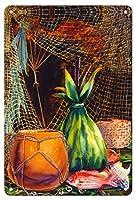 22cm x 30cmヴィンテージハワイアンティンサイン - イブニングキャッチ - ハワイアンフィッシュネット( 'Upena) - 縛られたカボチャの容器(Ipu Wahele) - オリジナルハワイ水彩画から によって作成された ペギー チュン