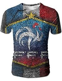 フランス サッカー 2018 メンズ 丸首 Tシャツ 半袖 今季最新 量軽 爽快 3Dプリント 薄手 吸汗速乾 ファッション おしゃれ M