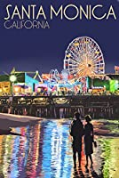 サンタモニカ、 – Pier at Night 12 x 18 Signed Art Print LANT-43626-708