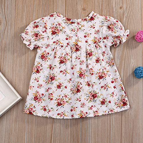 YOUNGER TREE Toddler Baby Girls Floral Short Sleeve Dress Spring Summer Cute Outfits Kids Girls Clothing - White - 0-6 Months