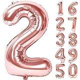 Lausatek バルーン アルミ風船 数字2 ナンバー 40インチ 大きい 誕生日 ハッピーバースデー 飾り付け 記念…
