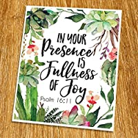 Psalm 16:11 In your presence is fullness of joy Print (Unframed) Inspirational Motivational Watercolor Scripture Print Bible Verse Print Christian Wall Art 8x10 TC-036 [並行輸入品]