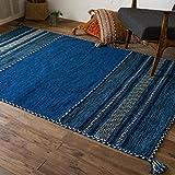 インドキリム ブルー 140x200cm 折り畳み可能 ホットカーペットカバー対応 インド綿ラグ アジアン エスニックデザイン 幾何学模様 輸入カーペット