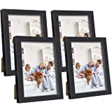 Q.Hou 5x7 Picture Frame Black Photo Frames Set of 4, with High Definition Glass for Tabletop or Wall Mount (005US-QH-MD5X7-BK