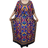 Mogul Interior Womens Long Caftan Kaftan Multicolor Printed Bikini, Swimsuit Cover Up Dress One Size