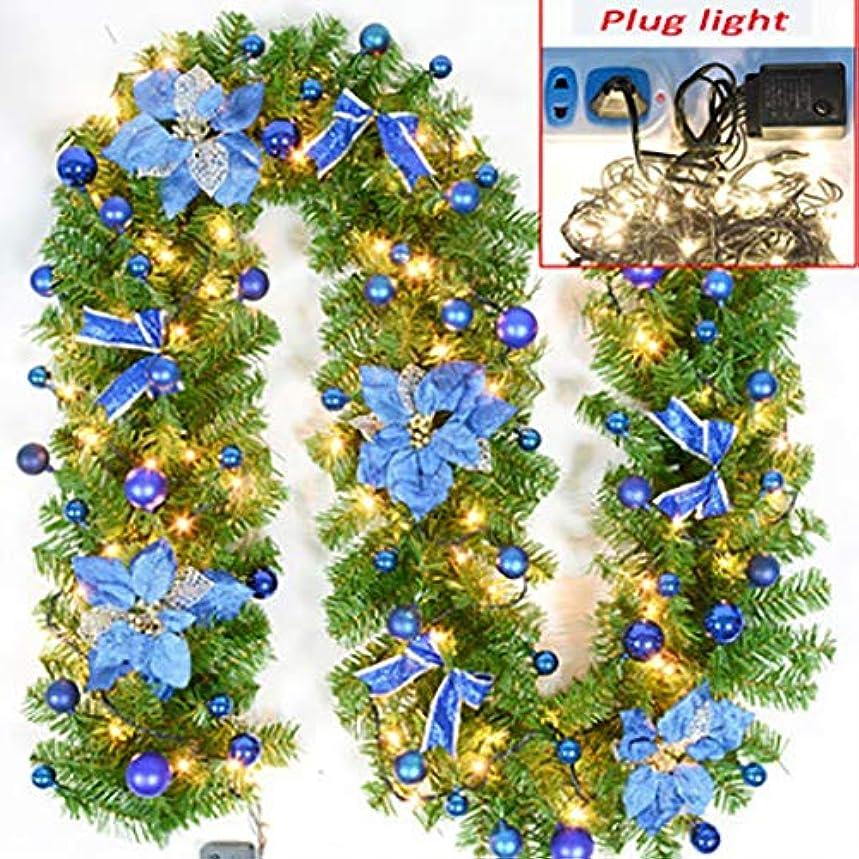 みアクロバット崇拝するモールウィンドウの2.7M階段暖炉クリスマスリースクリスマスリースクリスマス装飾お祝いの花で花輪弓(ライト付き)手すりをハンギングドアつるの花輪ドアを表示 (Color : E)