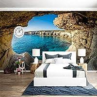 写真の壁紙現代のシンプルな洞窟海の風景自然壁画リビングルームの寝室のインテリア装飾の壁紙スペース拡張の壁紙-260X175CM