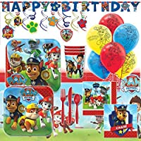 Deluxe Paw Patrol Childrens Birthday Party Pack Decoration Kit For 16 [並行輸入品]