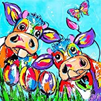 Fineser(TM) DIY Diamond painting Cross Stitch 5D Embroidery Paintings Rhinestone Pasted Colourful Cow