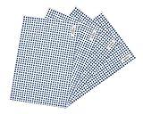 wellhouse ランチョンマット 綿 麻 大きい 60x40cm チェック柄 布 食卓マット 4枚セット (ブルー L)