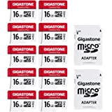 Gigastone 16GB 10-Pack Micro SD Card, Camera Plus, MicroSDHC Memory Card for Wyze Cam, Security Camera, Full HD Video Recordi