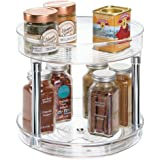 (2-Tier Turntable) - mDesign 2-Tier Lazy Susan Turntable Spice Organiser for Kitchen - 23cm, Clear/Chrome