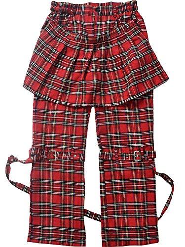 (エーシーディーシーラグ) ACDC RAG ボンテージパンツ ボンパン パンク ロック ファッション V系 バンギャ レディース 黒服 パンツ エプロン フラップ (レッドタータン)