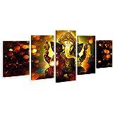 DJSYLIFE-Extra Large Premium Quality Picture Canvas Wall Art,5 Pieces Hindu God Ganesha Art Wall Home Decor HD Print Home Wal