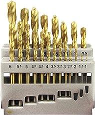 E-Value 鉄工用ドリルセット チタンコーティング 丸軸 21本組 ETD-21S-T
