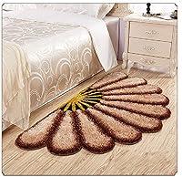 3D 半円形シャグエリアラグ 居心地の良いフロアマット 寝室/リビングルーム/バスルーム/キッチン ホームデコ 美しいファン型 ベッドサイドマット/ウェルカムラグ/ふわふわとしたシルキーカーペットパッド 32×59インチ 32 x 59 inch ブラウン