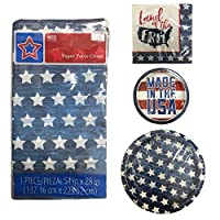 Patriotic Party Supplies All American Patriotic Stars Party Supplies for 20 Guests with Table Cover [並行輸入品]