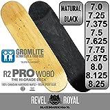 REVEL ROYAL スケートボード スケボー プロ ブランク デッキ 子供用 7.0インチ ナチュラル 木目 無地 100% カナディアン ハードロック メイプル + エポキシ樹脂グルー キッズ