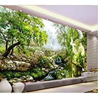 Mingld 3D壁紙絵画国の川カスタムファンタジー緑の風景の壁紙ステッカー不織壁紙ロール-120X100Cm