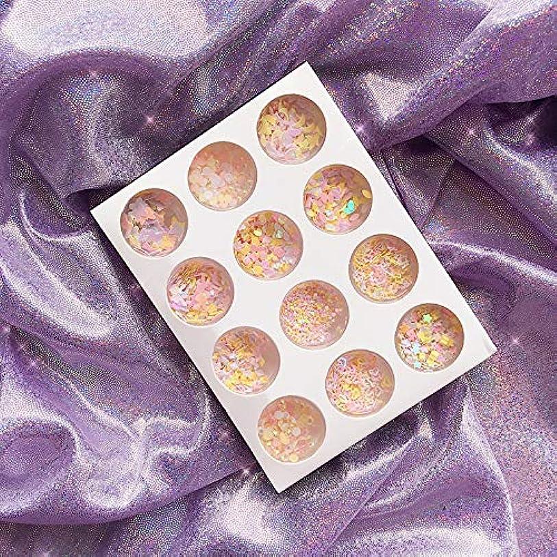 12種類 可愛い DIYネイルアート グリッター 封入素材 アイメイク 装飾品 ネイルパーツ グリッター キラキラ