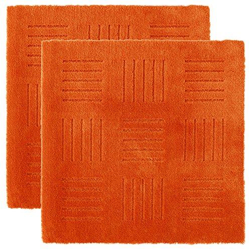 ピタッと吸着! ジョイントキッチンマット ピタプラス ブリック 約60×60cm(2枚組) オレンジ (無地 ずれない 日本製 洗える 長方形)