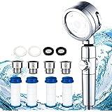 シャワーヘッド 節水 塩素除去 浄水 止水ボタン 角度調整 アダプター付 国際基準G1/2 シャワー 3段階モード 増圧機能 M/K/G/O ジョイント 取付簡単 (シルバー) YTY-21091501