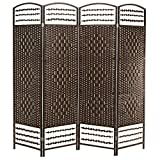 MyGift 4 Panel Woven Design Room Divider Wood Frame Privacy Screen Brown [並行輸入品]
