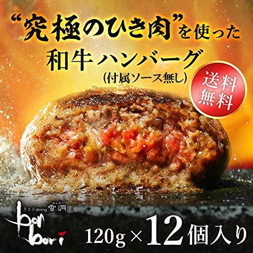 【付属ソース無】究極のひき肉で作る 牛100% 和牛ハンバーグステーキ 120g×12個入り (プレーン120g)