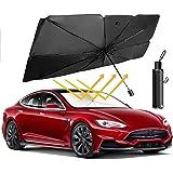 SUNACCL Car Sun Umbrella, Car Windshield Sun Shade Umbrella UV Rays and Heat Sun Visor Protector Foldable Car Sun Umbrella Bl