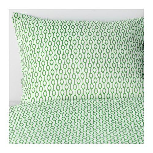 IKEA羽毛布団カバーと枕カバーS、ホワイト、グリーン、キング