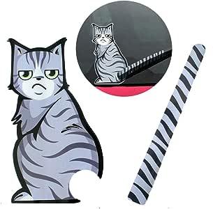 リアウインドウ用 ねこ+しっぽステッカー リヤワイパーがネコの尻尾に 猫イラストステッカー テールワイパー 後続車にアピール 目立ち度満点 デコレーション ムービングテールステッカー FMTCSRWP01