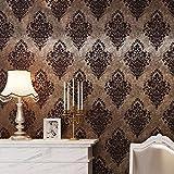 HaokHome 8505 DIYレトロ ダマスクの壁紙奢侈褐色/ブロンズ壁用トイレ屋内居間 ベッドルーム装飾 53cm×10m(並行輸入品)